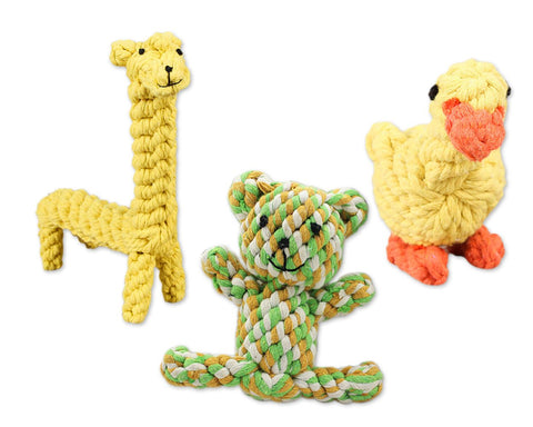 3 Pcs Durable Dog Chew Toys Pet Dog Toy Set - Giraffe, Bear and Duck