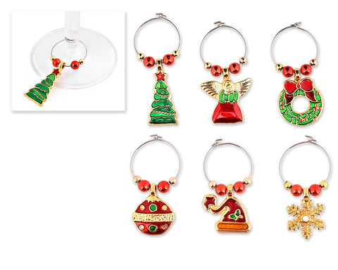 6 Pieces Christmas Wine Glass Charms