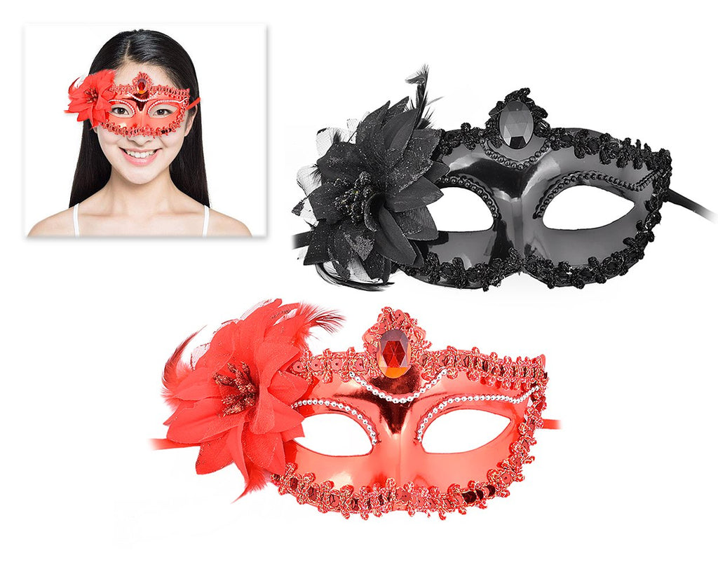 Masquerade Mask with Flower Set of 2 Costume Party Mask