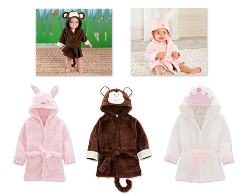 Multiple Size Animal Hooded Bathrobe for Kids 1 - 5 Years Old