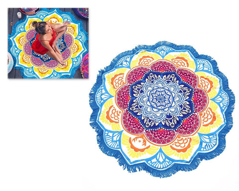 Fiber Printing Beach Towel with Tassels - Blue Mandala Lotus Flower