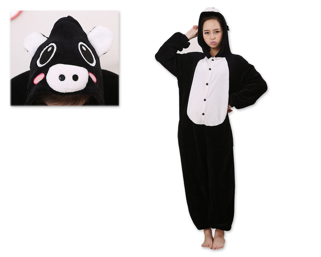 One Size One Piece Pig Pyjama - Black