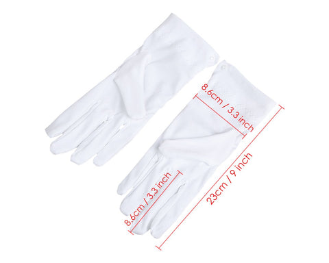 White Cotton Gloves with Snap Closure 6 Pairs Parade Gloves for Polices