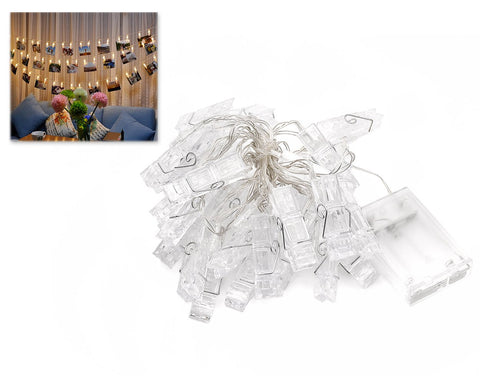 Battery Operated 30 Photo Clips Shaped LED String Lights - Warm White