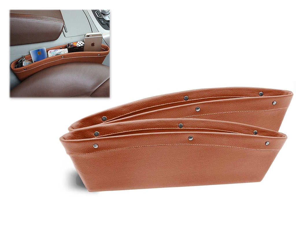 2 Pieces Leather Car Seat Side Pockets