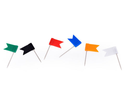 100 Pieces Assorted Color Flag Drawing Pins