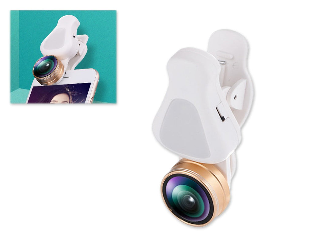 3 in 1 Clip on Phone Camera Lens with Fisheye Lens - Gold