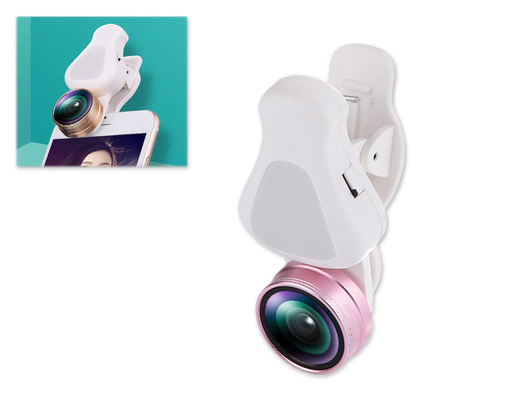 3 in 1 Clip on Phone Camera Lens with Fisheye Lens - Rose Gold