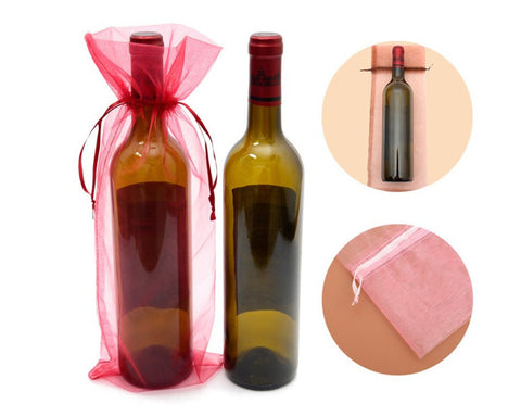 Organza Wine Bottle Bags 24 Pieces Wine Gift Bags