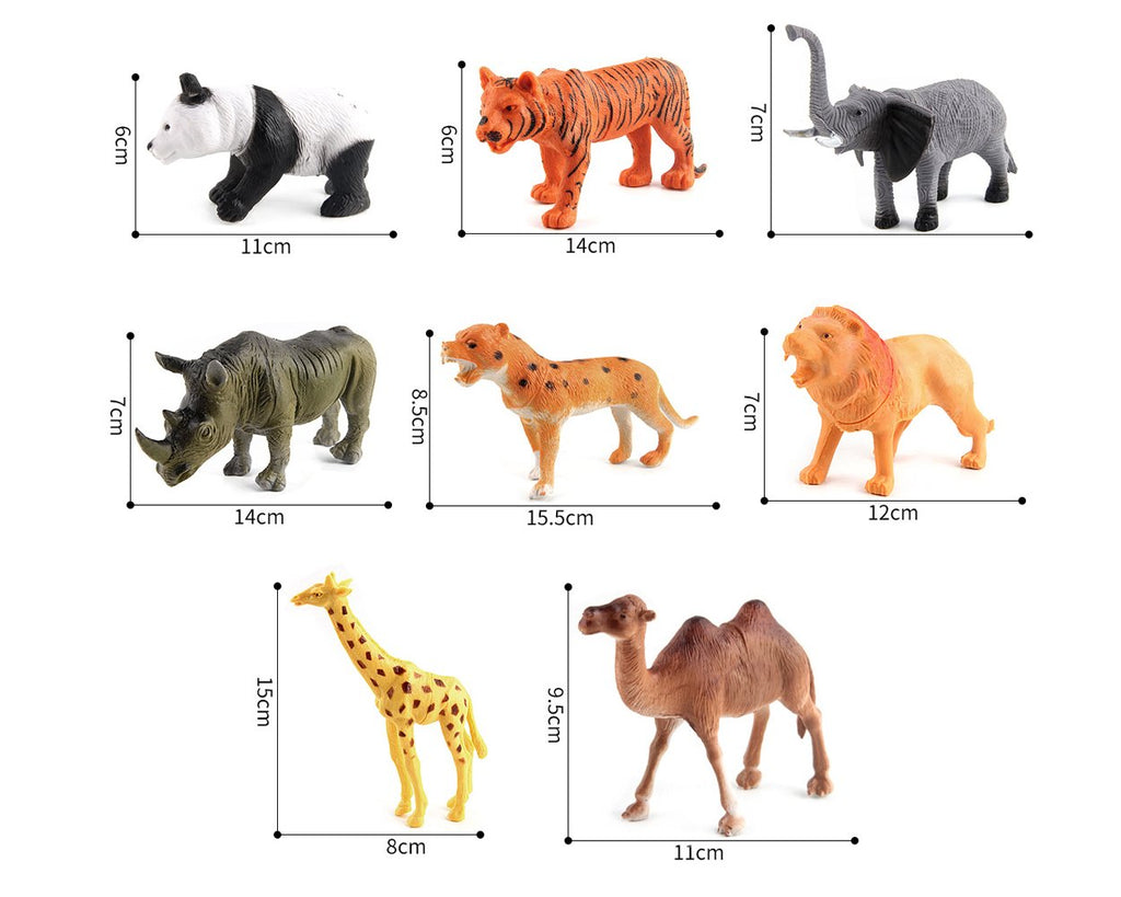 Assorted Jungle Animal Figures Set of 8