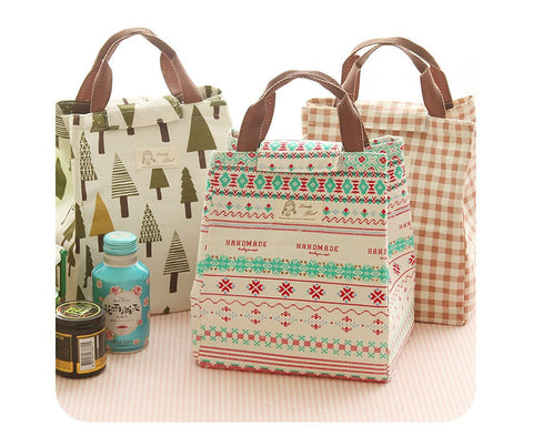 Waterproof Cotton Insulated Thermal Lunch Bag - Flower