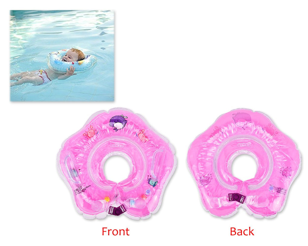 Flower Adjustable Baby Neck Float Swimming Ring - Pink