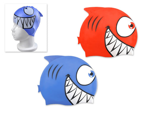2 Pieces Fish Shaped Silicone Swimming Cap for Kids - Blue and Red