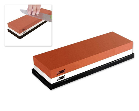 3000 / 8000 Grit Knife Sharpener Stone - Brown and White
