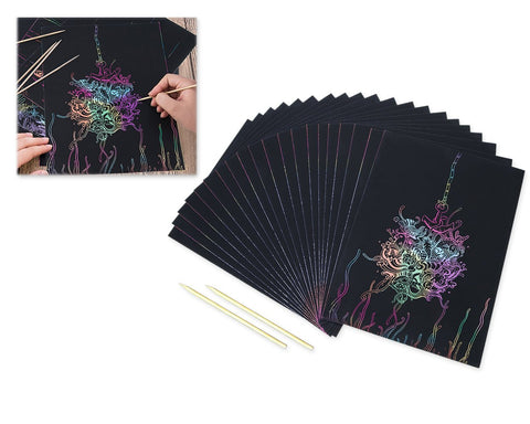 20 Sheets Rainbow Scratch Art Paper for Kids