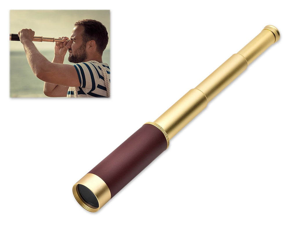 Brass Handheld Telescope Pirate Spyglass with Leather Case