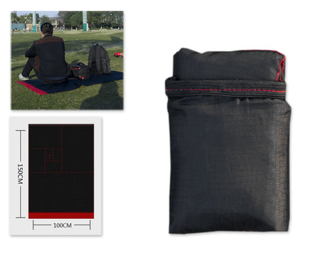 150 x 100CM Foldable Picnic Blanket - Black