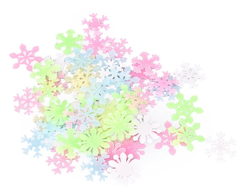 100 Pcs Fluorescent Wall Stickers Glow in the Dark Snowflakes Stickers