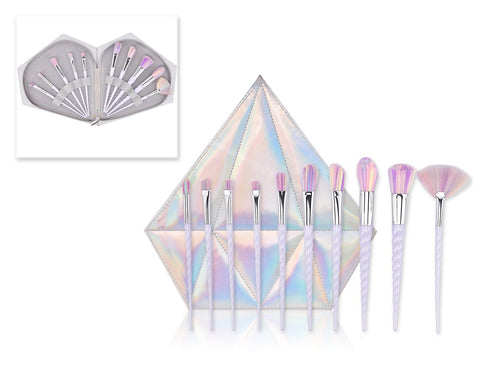 10 Pcs Professional Makeup Brush Set with Diamond Bag - Silver