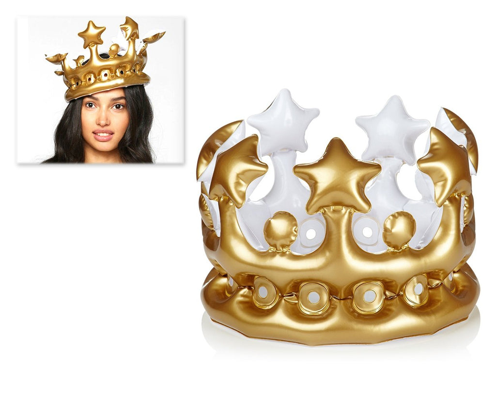 3 Pieces Inflatable Birthday Party Crowns - Gold