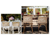 2 Pcs Burlap Mr. & Mrs Chair Banner Chair Garland Rustic Wedding Decor