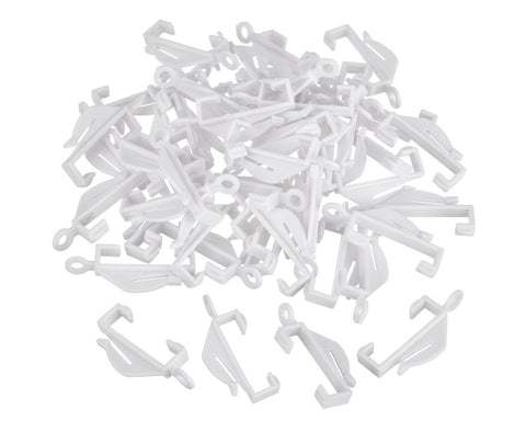 Curtain Hooks 50 Pieces Plastic Sliding Track Gliders - White