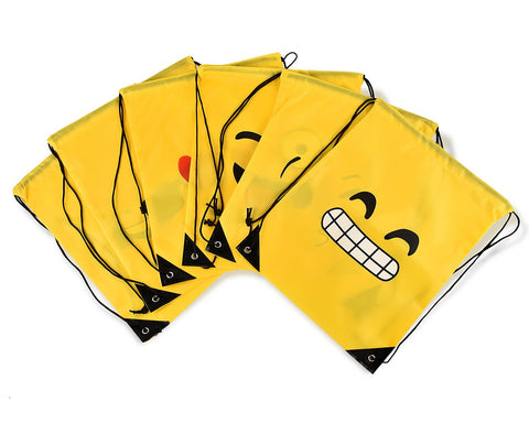 6 Pcs Emoji Drawstring Bags Emoticon Drawstring Backpack