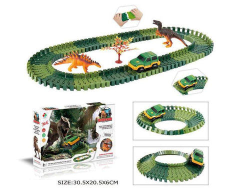 Dinosaur Race Track Set Flexible Car Track with 1 Electronic Car