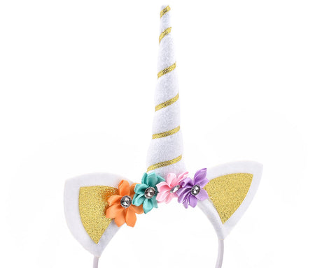 3 Pieces Kids Unicorn Headbands with Ears and Flowers for Party