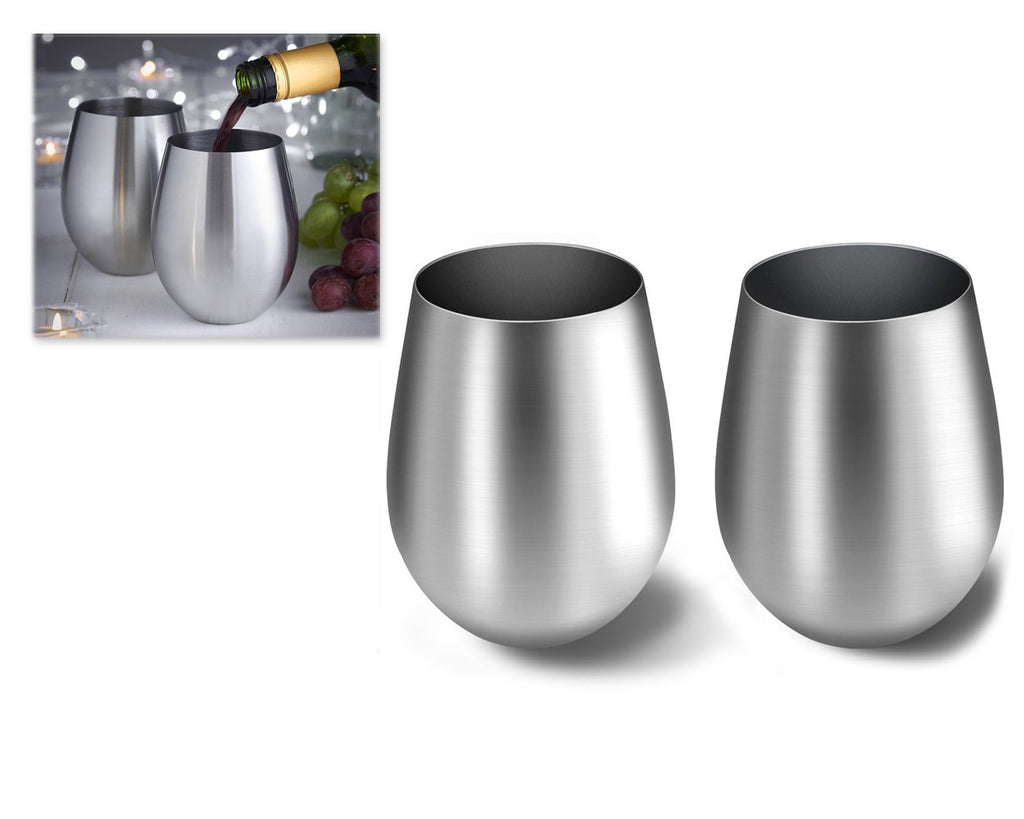 2 Pieces 550 ml Stainless Steel Wine Glasses - Silver