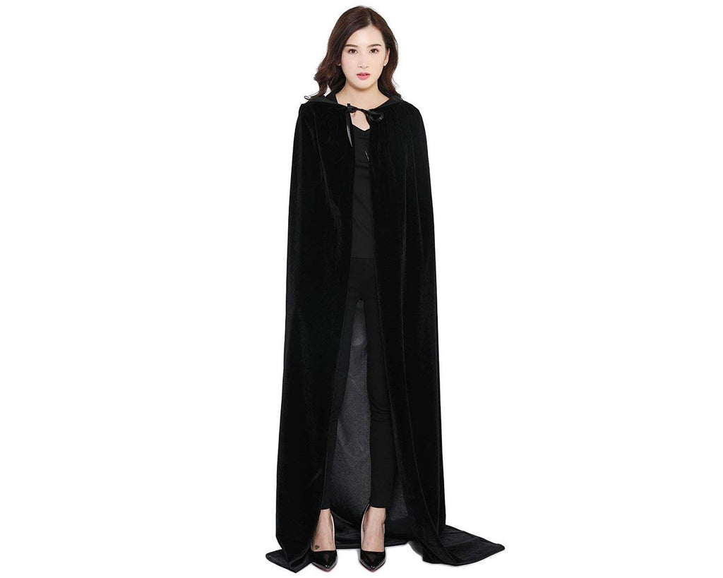 Halloween Party Costume Cloak with Hood Long Velvet Cape - Black