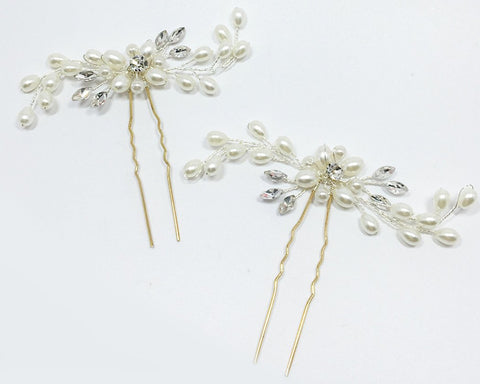 3 Pieces Pearl Bridal Hair Pins Headpiece
