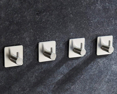 Self Adhesive Hooks 4 Pieces Waterproof Wall Hooks
