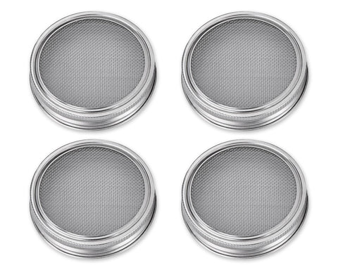 Sprouting Jar Lids 4 Pcs Stainless Steel Sprouting Lids for Mason Jars