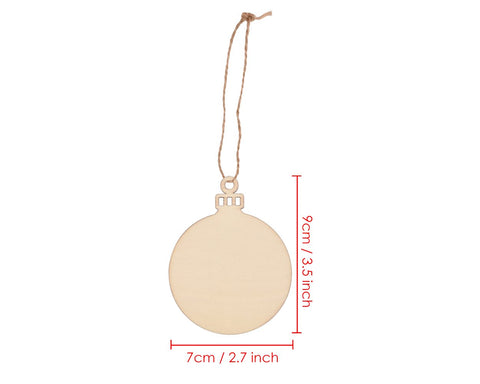 Wooden Tags 60 Pieces Blank Round Wood Bauble for Christmas Decoration