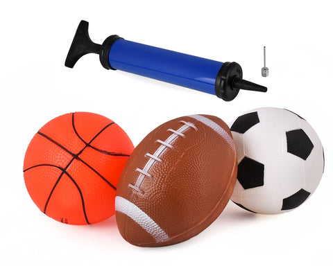 6 Inch Inflatable Sports Balls with Air Pump for Kids Set of 4