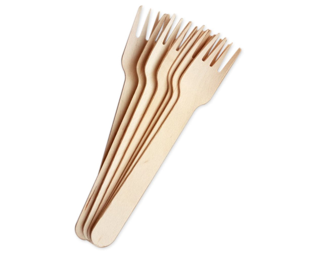 Disposable Wooden Forks 50 Pieces Eco-friendly Compostable Forks