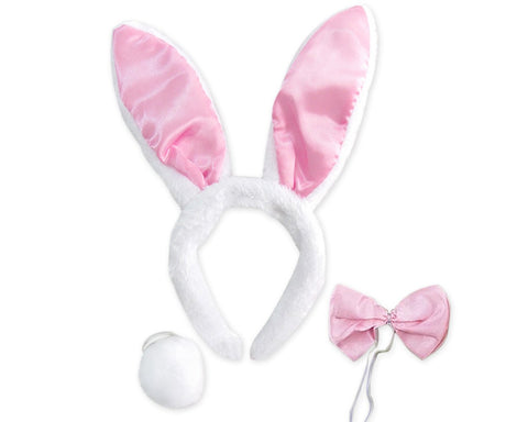Bunny Ears Headband with Bowtie and Tail Easter Bunny Costume Set for Party