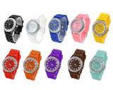 GENEVA Crystal Bezel Large Face Silicone Sport Women's Watch