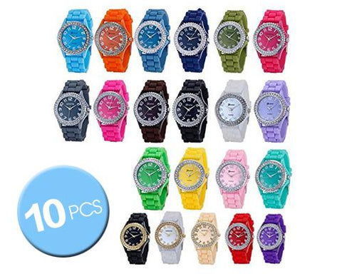 10 Pcs Geneva Jelly Silicone Quartz Women Sport Crystal Wrist Watches