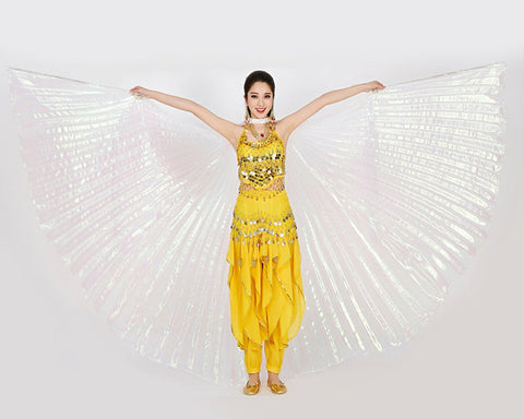 Belly Dance Wings 360 Degree White Isis Wings with Telescopic Rods