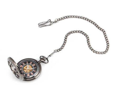 Classic Hand Wind Mechanical Pocket Watch with Chain - Black