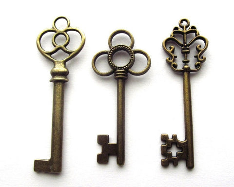 Retro Skeleton Keys Set of 30 - Antique Bronze