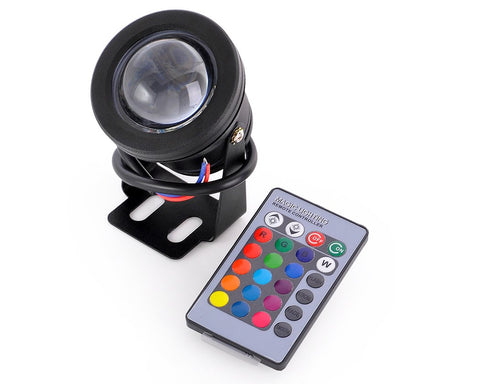 RGB Multi-color Waterproof LED Underwater Light - Black