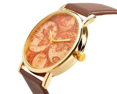 World Map Leather Band Quartz Women's Wrist Watch - Brown