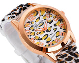 Trendy Leopard Silicone Band Dress Analog Wrist Watches for Women Girl