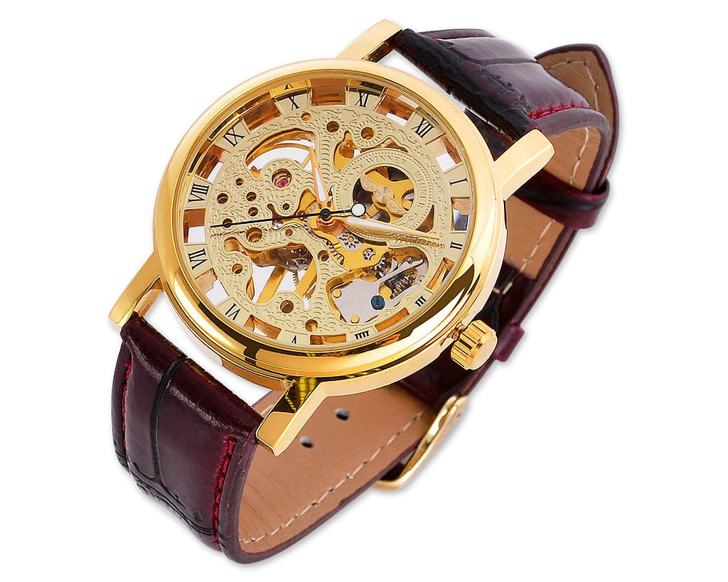 Winner Skeleton Brown Leather Hand Winding Mechanical Watch D160-Gold