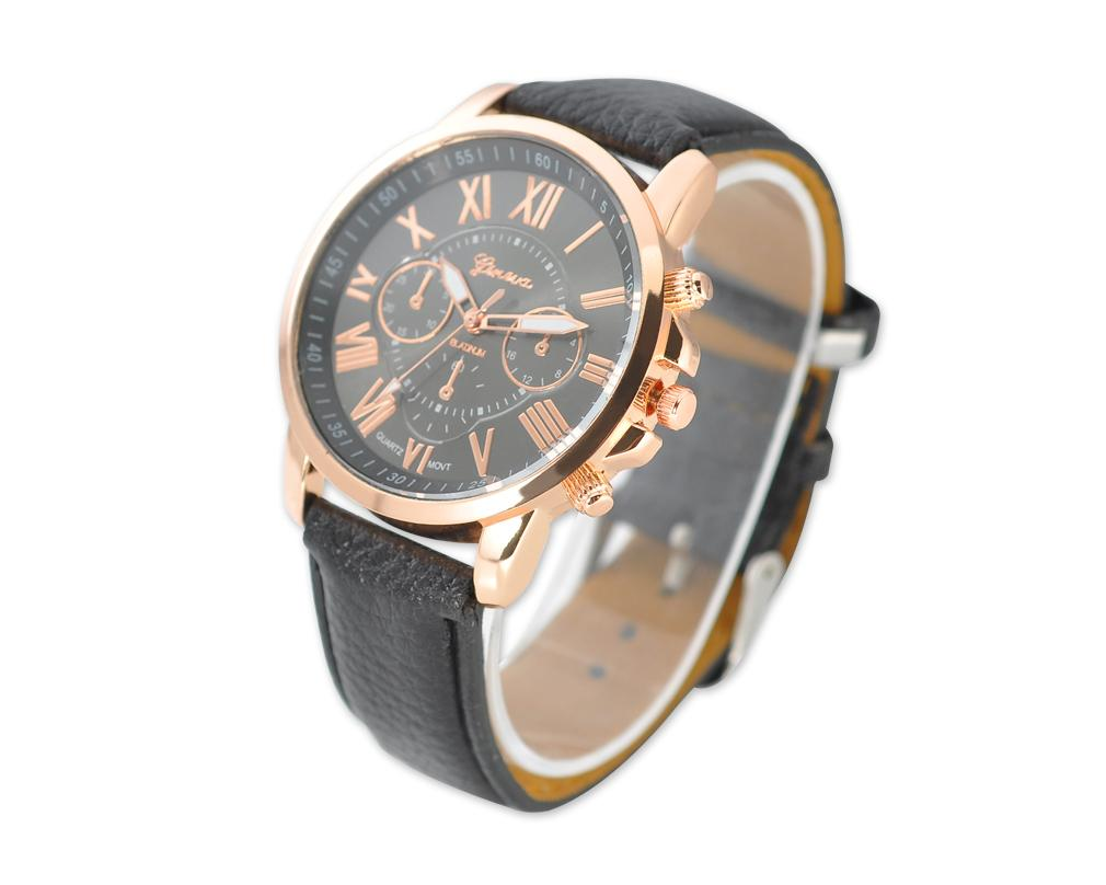 Geneva Unisex Gold Plated Round Leather Wrist Watch
