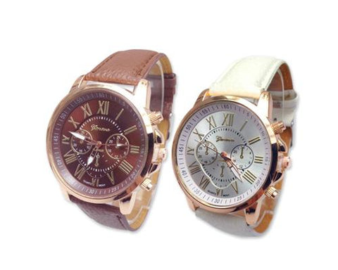 2 Pcs Geneva Unisex Gold Plated Round Leather Wrist Watch