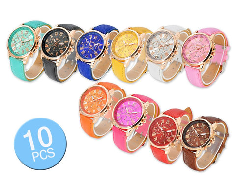 10 Pcs Geneva Unisex Gold Plated Round Leather Wrist Watches